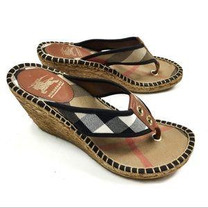 Burberry Novacheck Espadrille Wedge Sandals